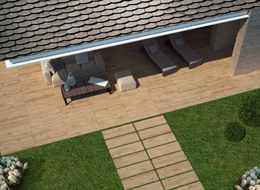 Carrelage extérieur imitation bois de la série TREVERKHOME 20 vendu chez Glaesener-Betz